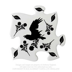 Black Raven & Rose Coaster Set